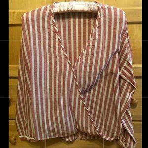 Tops - Linen striped wrap shirt